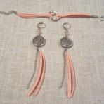 Boucles et bracelet saumon